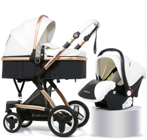 Luxury Leather 3 in 1 Stroller