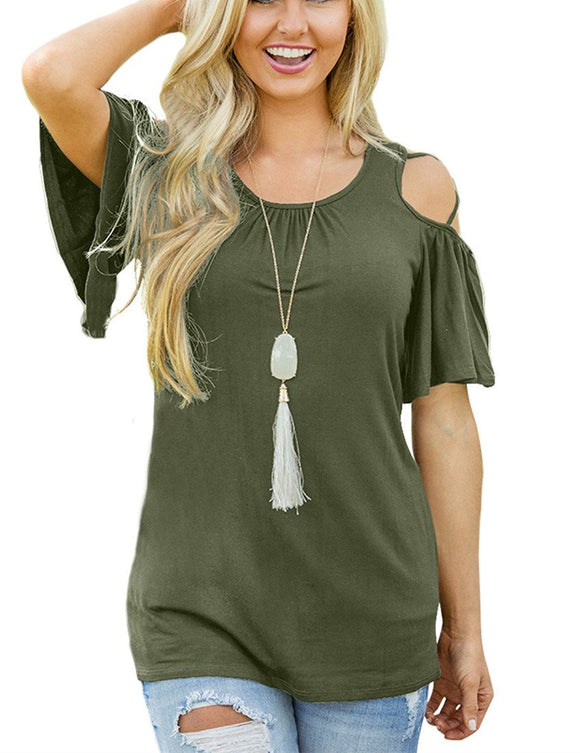 Casual Criss Cross Cold Shoulder Short Sleeve T-Shirt
