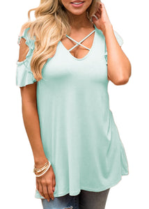 Cold Shoulder Ruffle Arm Hole Criss Cross V Neck Top T-Shirt