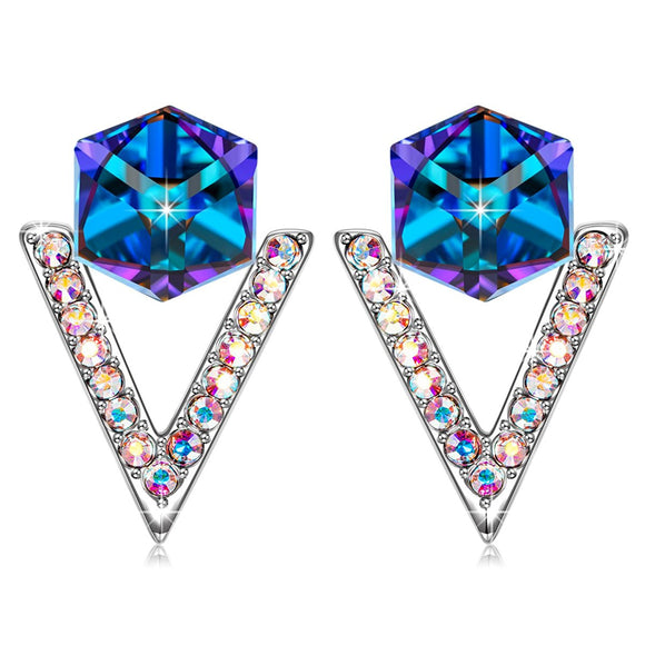 'Love in Eiffel' Stud Earrings with Blue Swarovksi Crystal