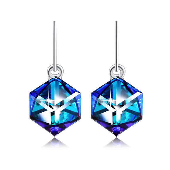 Heart Of Ocean Blue Drop Dangle Earrings PLATO H Color Change Earrings, Magic Drop Dangle Earrings with Swarovski Cube Crystal