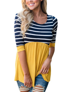 Casual Contrast 3 4 Sleeve Striped Round Neck Blouse