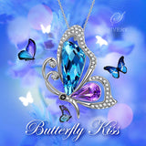 'Butterfly Kiss' Necklace with Blue and Green Swarovski Crystal