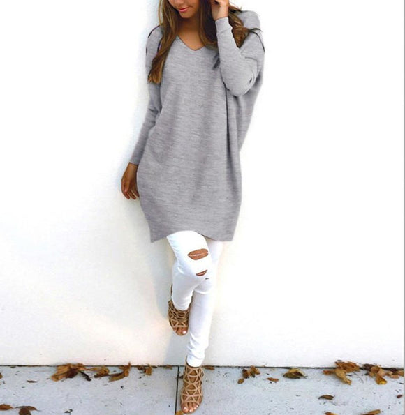 Women Knitted Sweater  Casual Loos Pullovers  V Neck Long Sleeve Thin Knitwear Plus Size - A Sheek Boutique