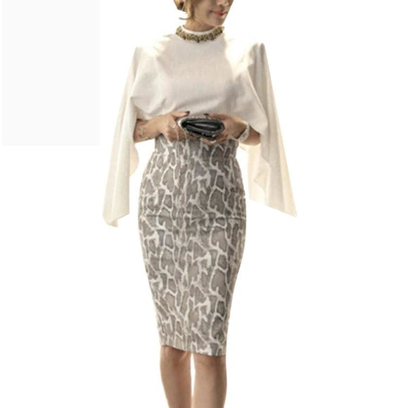 Chiffon Tops and Skirt 2 Piece Set Cape Poncho Shawl Design White Chiffon Shirt + Package Hip Skirt Suit - A Sheek Boutique