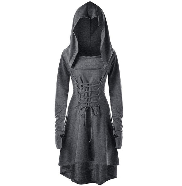 Womens Bandage Back Fashion Casual Lace Up Hooded Asymmetrical High Low Hooded Dress - A Sheek Boutique