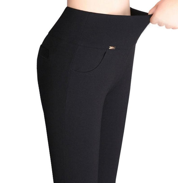 Womens High Stretch Pants Cotton Pencil Pants High Waist Pants - A Sheek Boutique