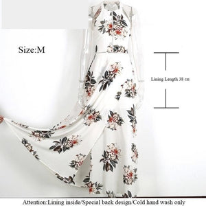 Floral halter chiffon long dress backless maxi dresses split dress - A Sheek Boutique