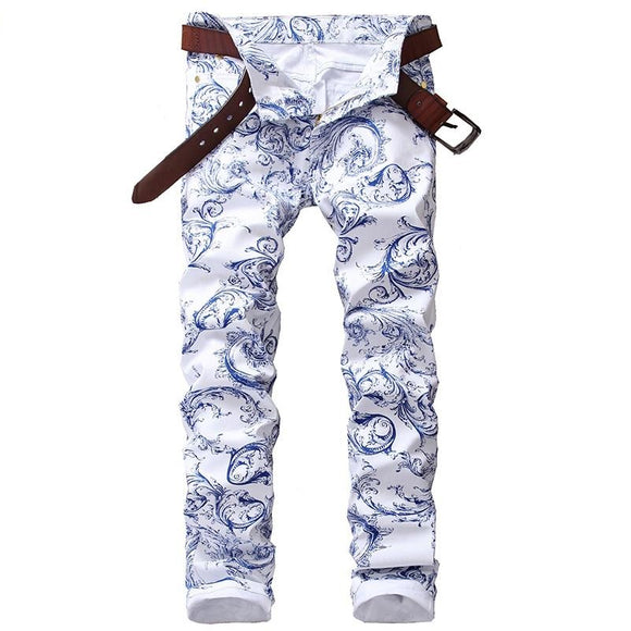 men's fashion blue and white porcelain pattern print jeans slim stretch denim pencil pants - A Sheek Boutique
