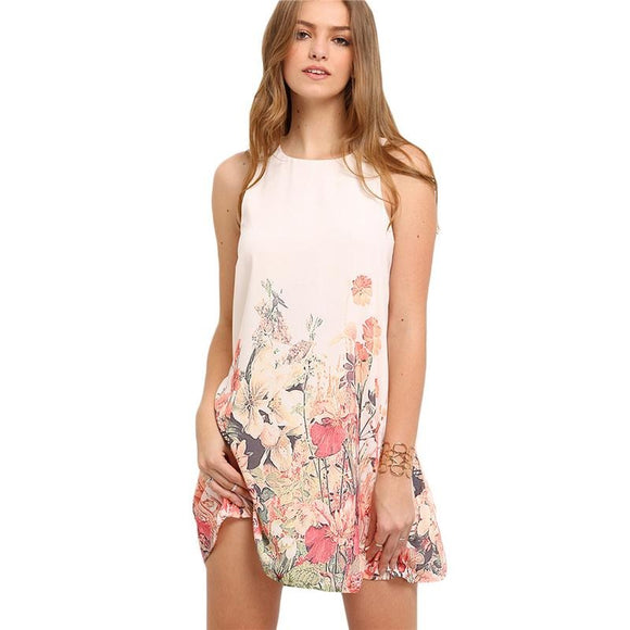 Multicolor Sleeveless Flower Print Boho Dresses Round Neck Cut Out Shift  Dress - A Sheek Boutique