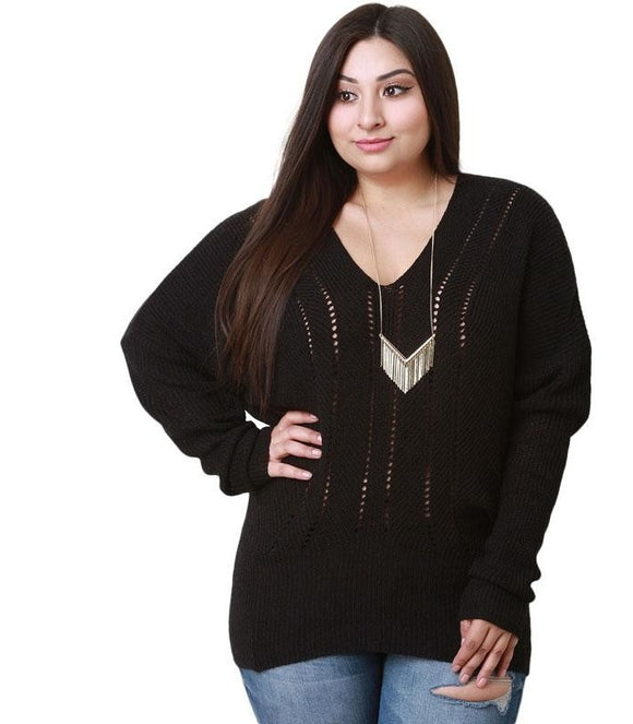 Plus Size Sweaters Hollow Out Casual Pullovers