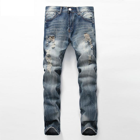 Mens Straight Leg Denim Ripped Blue Jeans With Holes - A Sheek Boutique