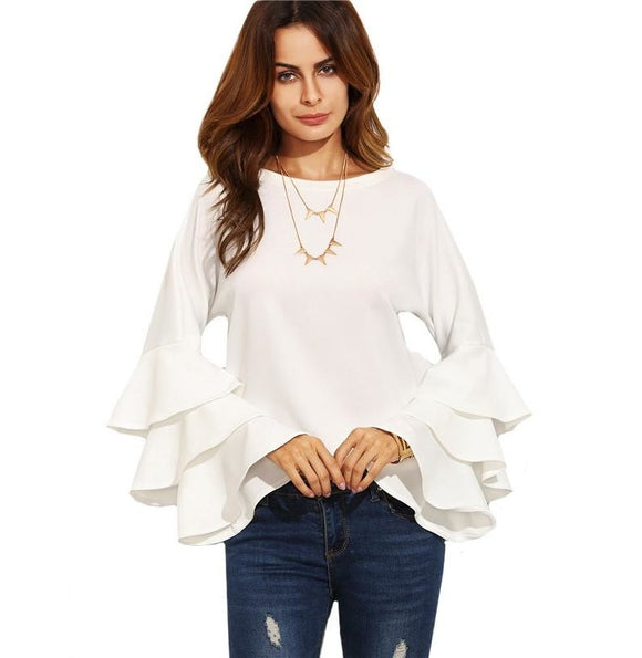 White Round Neck Ruffle Long Sleeve Fashion Blouse - A Sheek Boutique