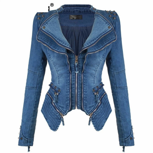 Denim Jeans Padded Shoulder Jacket Slim Fit Zipper Coat Biker Jackets - A Sheek Boutique