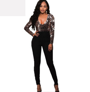 women Long Sleeves Gold Sequins Jumpsuit Elegant Embroidery V Neck Jumpsuits - A Sheek Boutique