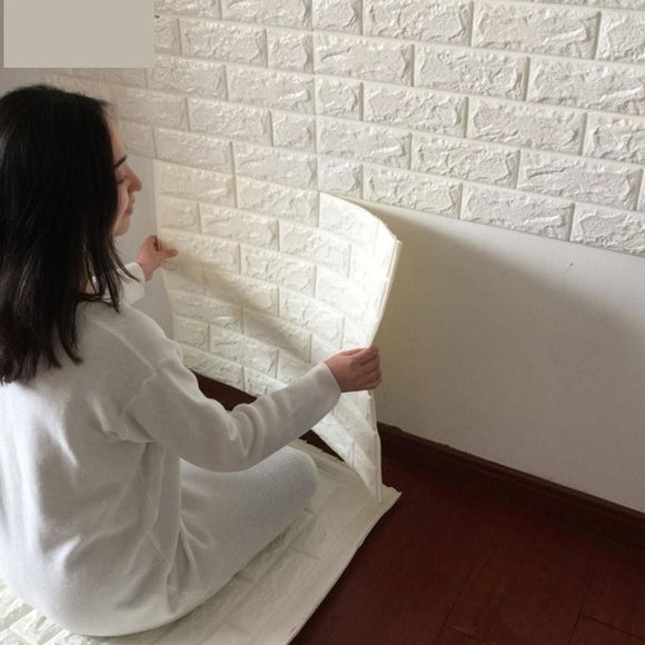 3D wall stickers brick pattern self-adhesive wallpaper decorative waterproof anti-collision(Color:White)