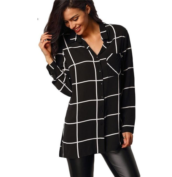 Womens Casual Blouses Black Lapel Long Sleeve Plaid Buttons Pockets Blouse - A Sheek Boutique