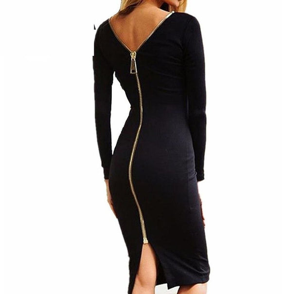 Womens Bodycon Sheath Dress Little Long Sleeve Back Full Zipper Sexy Pencil Tight Dress - A Sheek Boutique
