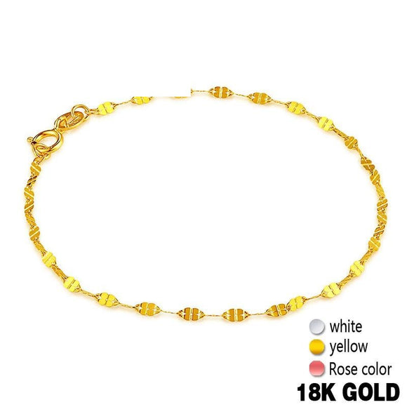 18k Pure Gold Bracelets Four Clover Thin Trendy Solid 750 Real Bangle