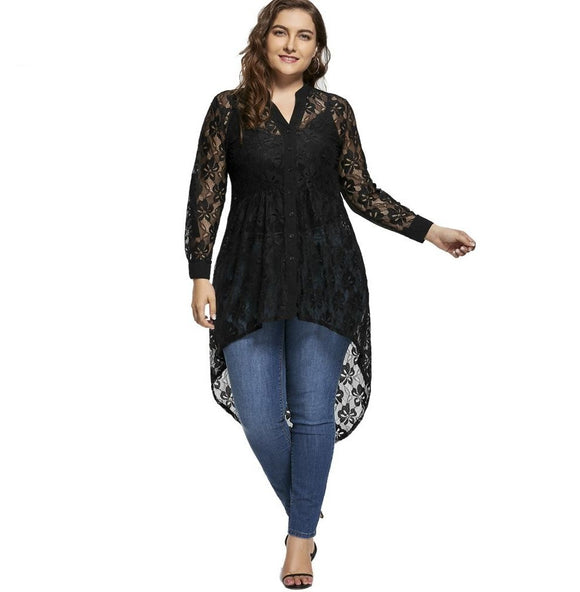 Womens Plus Size Lace Blouse Top Long Sleeve V Neck High Low Hem Black Shirt Blouses - A Sheek Boutique
