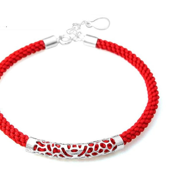Red Rope Chain 100% Real 925 Sterling Silver Bracelet High Quality S925 Solid Silver Bracelets - A Sheek Boutique
