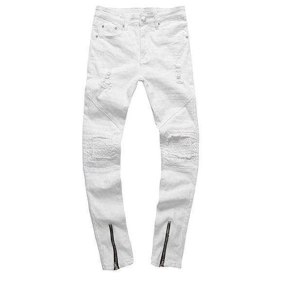 mens zipper white jeans casual skinny motorcycle denim pants - A Sheek Boutique