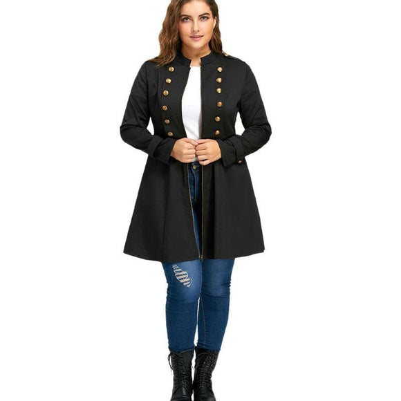Plus Size Double Breasted Flare Coat Oversized Zipper Trench Windbreaker Coat