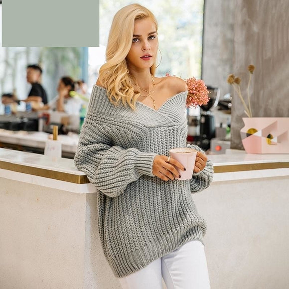 Off shoulder v neck long sleeve thick sweater knitting sweater - A Sheek Boutique