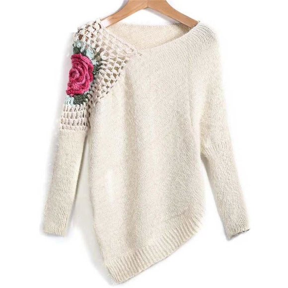 Apricot Round Neck Floral Crochet Loose Sweater Embroidery Asymmetrical Pullovers - A Sheek Boutique