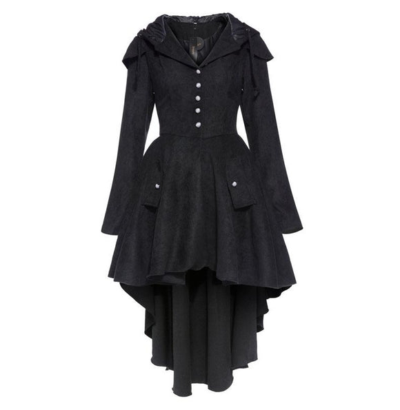 womens vintage coat asymmetric black gothic trench overcoat cape lace up - A Sheek Boutique