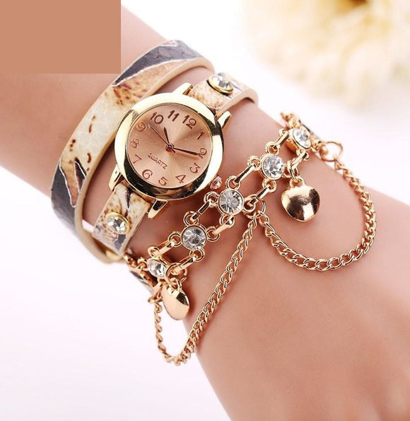 Woman Leather Rhinestone Rivet Chain Quartz Bracelet Wristwatch Luxury Stainless Steel watches