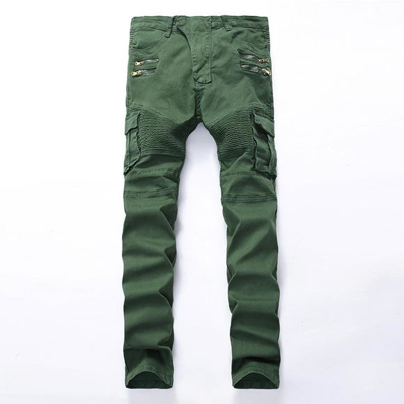 Mens fashion pocket hole ripped jeans Casual Zipper slim straight leg dark green denim pants - A Sheek Boutique