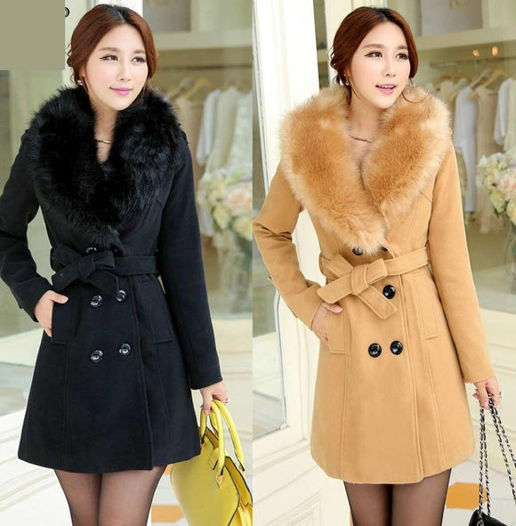 Winter Coat Faux Fur Collar Fashion Wool Coat Lapel Long Sleeve Double Breasted Slim Coats Plus Size