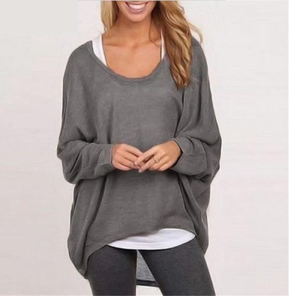 Womens Blouse Fashion Batwing Long Sleeve Casual Loose Solid Color Shirt Sexy Tops - A Sheek Boutique
