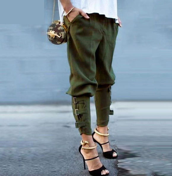 Womens Fashion Pants  Casual Loose Pockets Elastic Waist Pants Leisure Army Green Pants - A Sheek Boutique