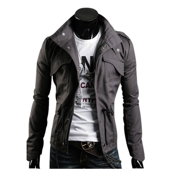 Mens Jacket Tunic Jacket Slim Fit Collar Casual Style Windproof - A Sheek Boutique