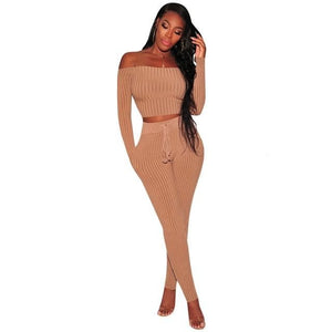 Knitted Ribbed Jumpsuit Two Piece Set Off Shoulder Backless Elegant Skinny Long Sleeve Jumpsuits - A Sheek Boutique