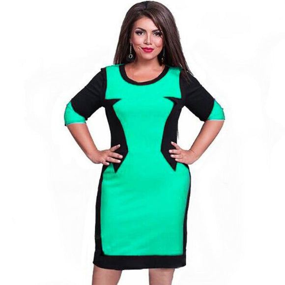 Patchwork Dresses Elegant Plus Size O-Neck Casual Bodycon Dress