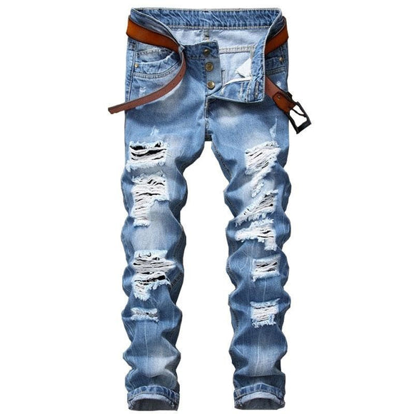 Mens Ripped Jeans Slim Fit Distressed Destroyed Denim Pants - A Sheek Boutique