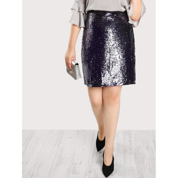 Metallic Sequined Skirt
