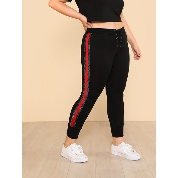 Grommet Lace Up Fly Striped Side Sweatpants
