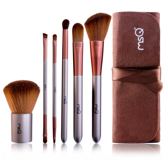 6 Pcs Rayon Fiber Makeup Brush Kit Wooden Handle Cosmetic Tools