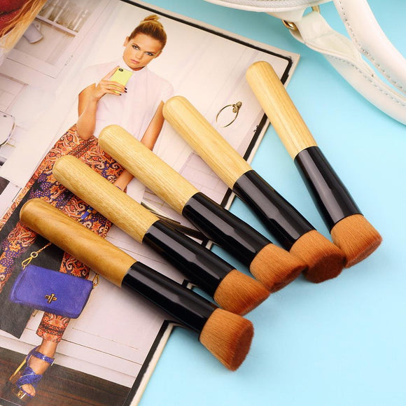 5PCS Bamboo Handle Makeup Brush Set Cosmetics Kit Powder Blush Make up Brushes styling tools Face care Drop Shipping Wholesale