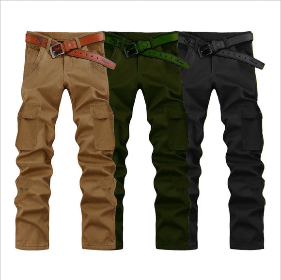 Mens Loose Zipper Fly Multi-Pocket Cargo Pants Full-Length Casual Pants