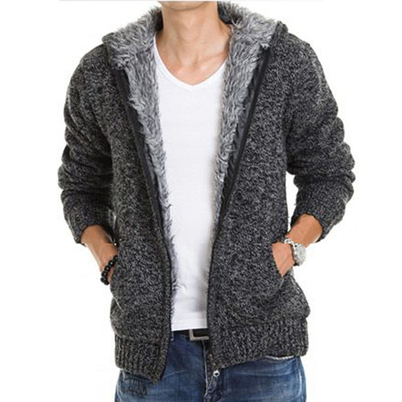 Mens Hoodie Fur Lining Thicken Casual Hoodies with Zipper