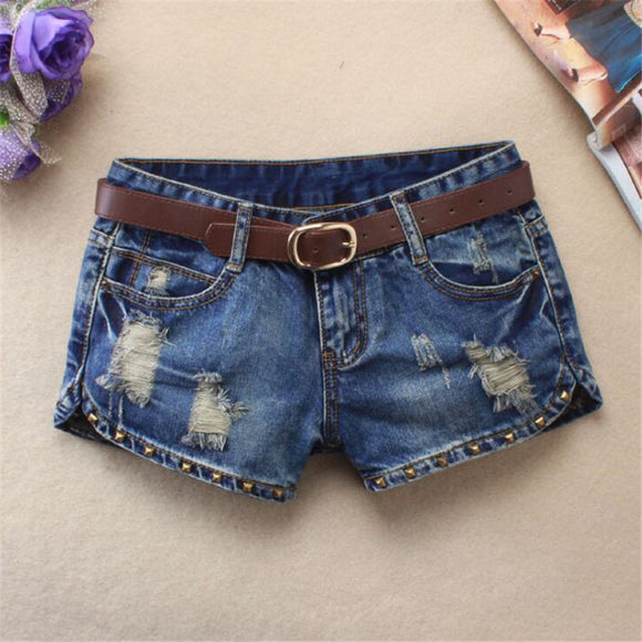 high waist jeans fashion hole Cat rivet Split ends Thin ripped jean shorts