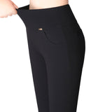 Womens High Stretch Pants Cotton Pencil Pants High Waist Pants-Black