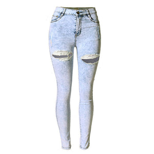 Women Hole Jeans European  Skinny Denim Jeans