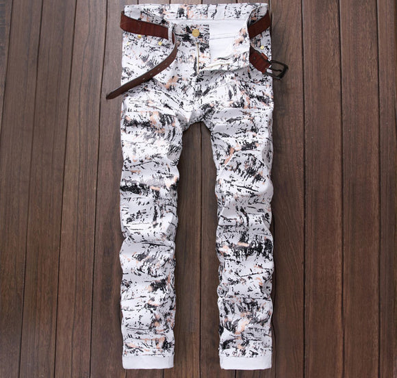 men's casual jeans straight leg luxury print slim cotton white jeans