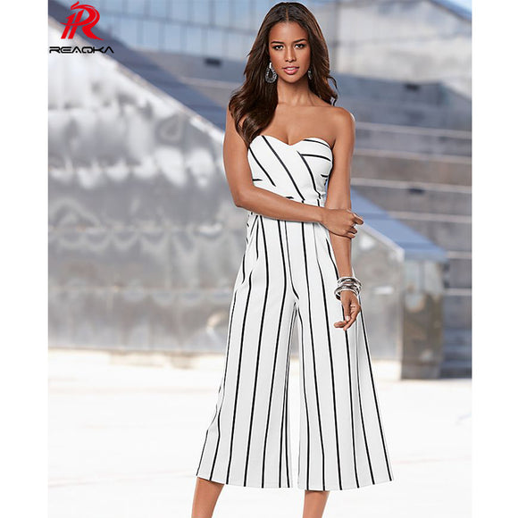 women jumpsuit Striped Casual fashion backless Strapless bodycon Loose Jumpsuits